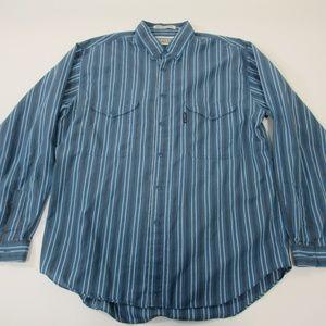 Vintage Big E Levi's Silver Label Men's Blue Shirt